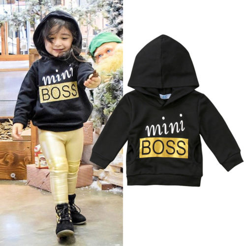 Black Toddler Hooded Newborn Baby Boys Girl Top Pullover Costume Hoodie Long Sleeve Outfits