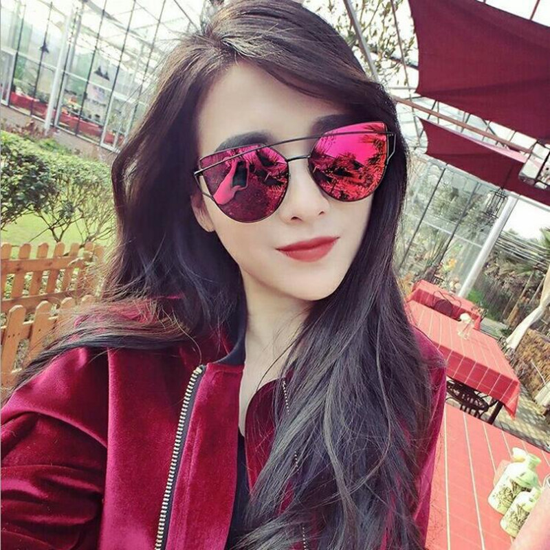 Sunglasses Women Flat-Panel-Lens Female Retro Twin-Beams Fashion-Brand Coating Cat-Eye