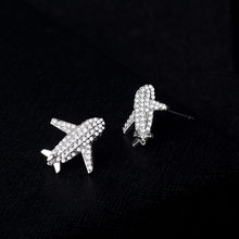 New Simple Small Aircraft Ear Nails Zircon Earrings 925 Silver Needle Ear Jewelry Aretes Star Earrings Opal Earrings(China)