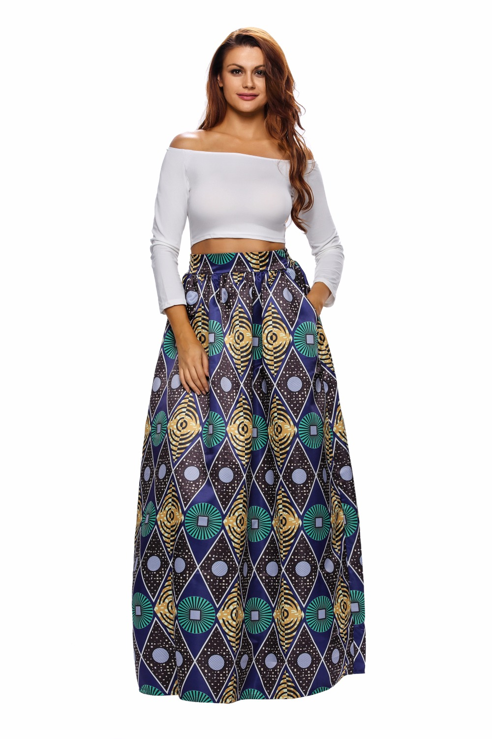 XXL Plus Women Skirt Hign Waist African Clothing Traditional Chic Circle Diamond African Print Maxi Skirt cheap clothes china