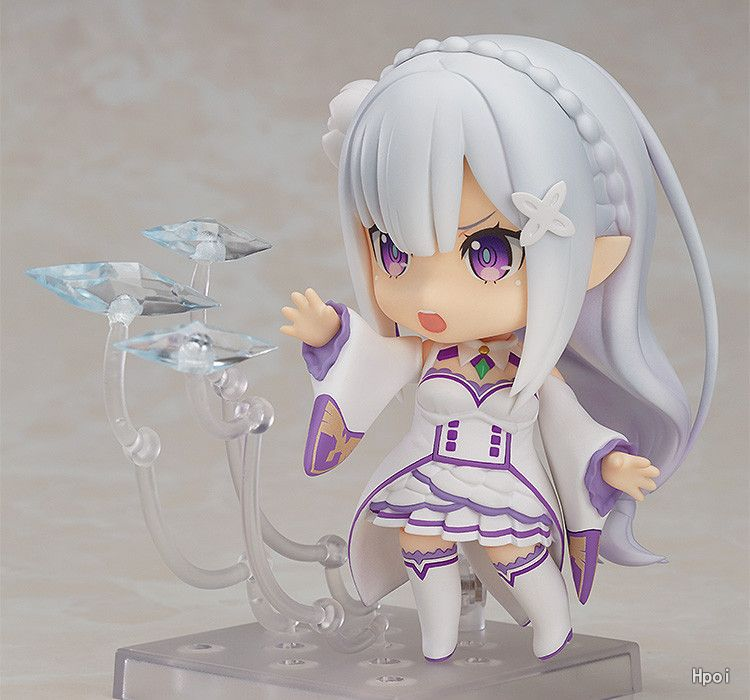 Anime Re Action & Toy Figures Life In A Different World From Zero Q Version Nendoroid #751 Half-elf Kawaii Emilia Pvc Action Figure Model Toy G306