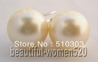 WOW 12mm Round Champagne Seashell Pearl Earring