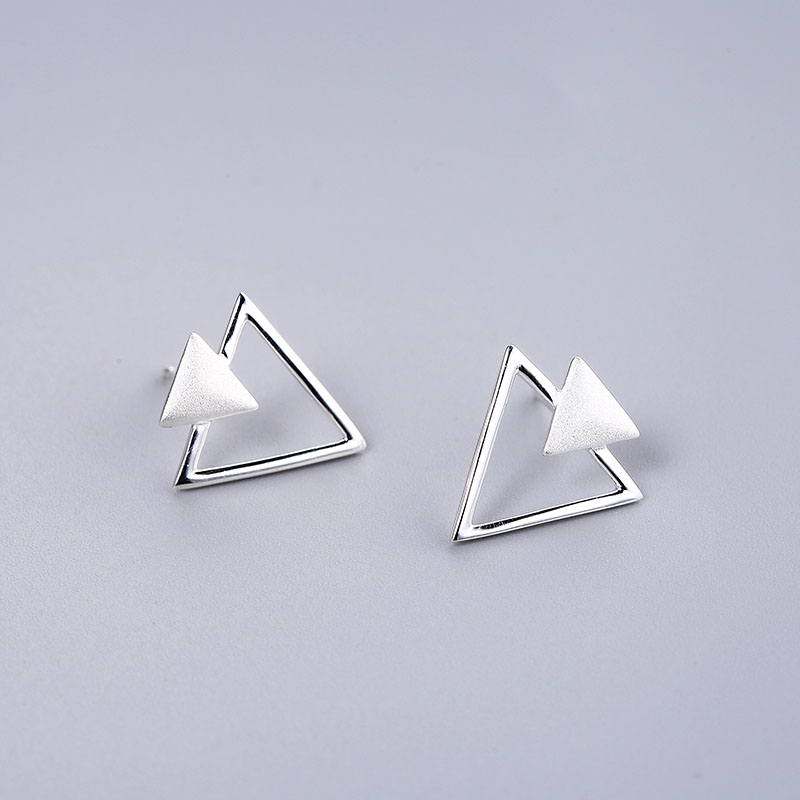 Romantic Real 925 Sterling Silver Triangle Stud Earrings Trendy Minimalist For Charm Women Jewelry Accessories Fashion