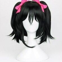 Высокое качество аниме LoveLive! Love Live Косплей парики Нико парик язава черный зажим конские Хвосты Косплей парик+ парик шапка+ шпилька-бант