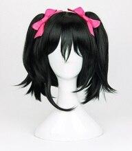 คุณภาพสูง Anime LoveLive! Love Live คอสเพลย์ Wigs Nico Yazawa วิกผมสีดำคลิป Ponytails Cosplay วิกผม + หมวกวิกผม + Bowknot Hairpins
