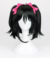 High Quality Anime LoveLive! Love Live Cosplay Wigs Nico Yazawa Wig Black Clip Ponytails Cosplay Wig +Wig Cap + Bowknot Hairpins