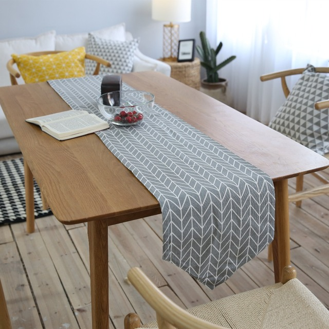 1 PCS Table Runner Geometric Wave Lattice Print Canvas Cotton Ribbon Rustic  Home Decoration Table Runners