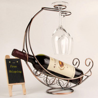 新しいクリエイティブファッションメタルワインラック吊りワイングラスホルダー海賊船形状バーワインホルダー2色ラックのワイン