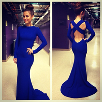 Королевский синий с длинным рукавом Русалка Пром платья Sexy открытой спиной Вечерние платья этаж Длина Платья для вечеринок Бесплатная Инди