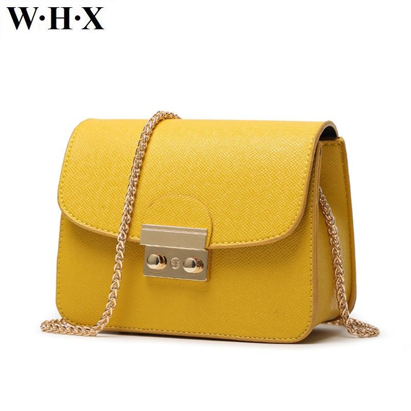 WHX Women Chain Shoulder Bags Women Messenger Bag Yellow Latest Design Fashion Casual Female Crossbody Bag Pu Leather New Style whx new style casual fashion women tote bag crossbody bag female shoulder messenger bag leather cartoon cat bear sequin handbag