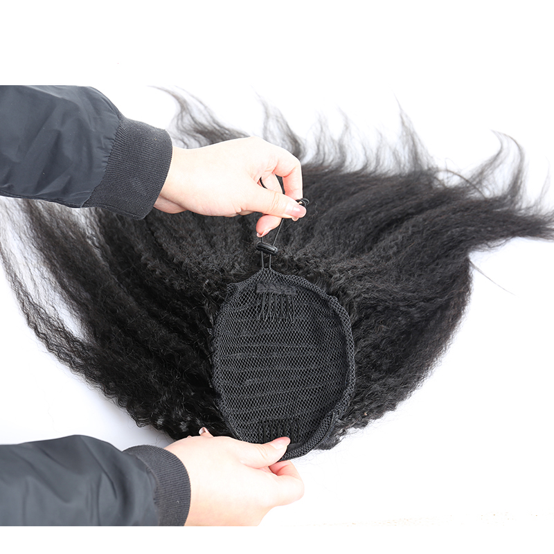 Kinky Straight Ponytail For Women Natural Coarse Yaki Remy Hair 1 Piece Clip In Ponytails Black 100% Human Hair Extension Dolago - 2