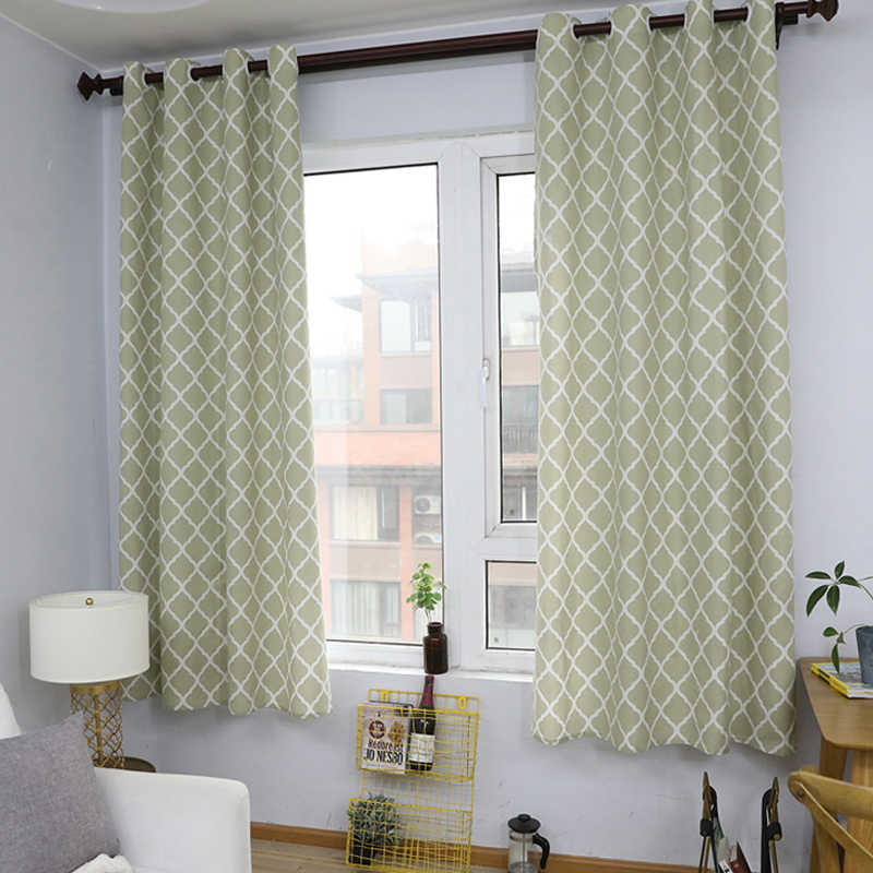 Cotton Linen Fabric Curtains Green Geometric For Living Room Short