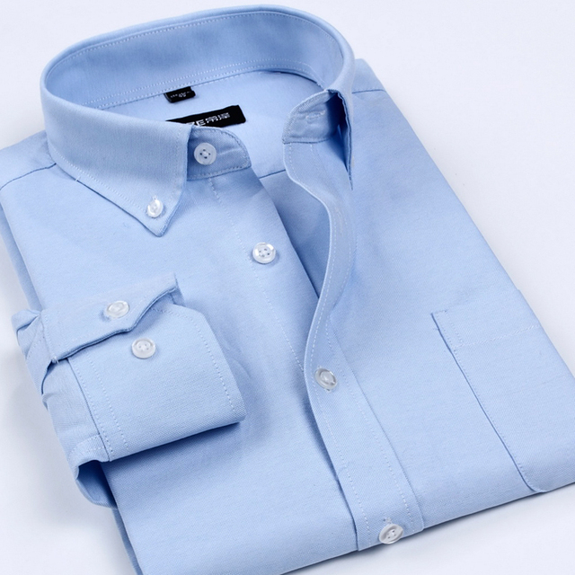 2016 Spring and autumn high quality Oxford silk cloth male commercial long-sleeve shirt easy care shirt work wear blue white