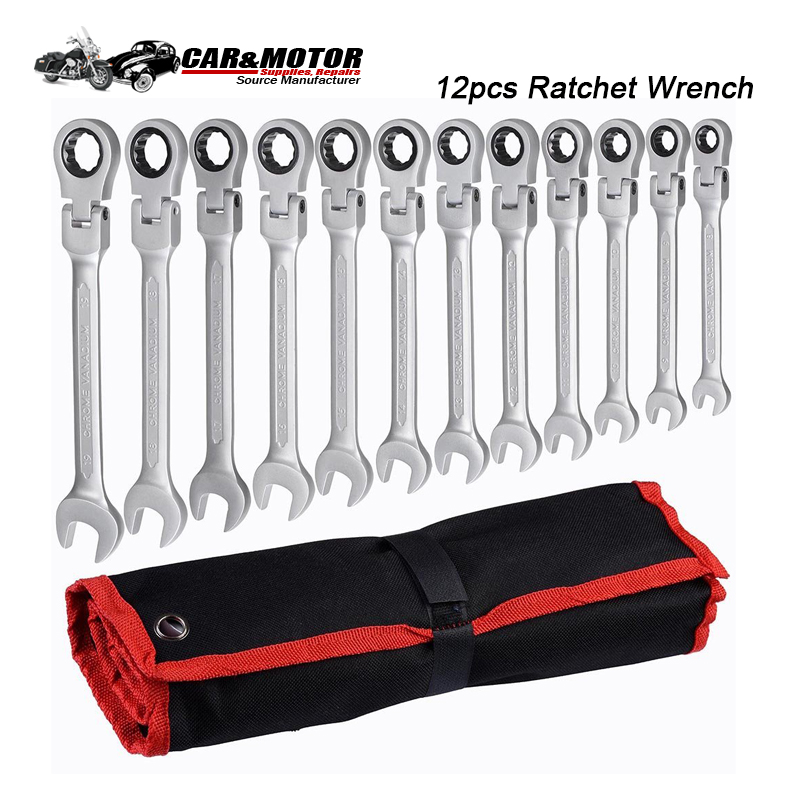 12pcs Ratchet Wrench 8-19mm Keys Set Ratchet Spanners Tools Set Wrenches Universal Flexible Head Wrench Car Repair Hand Tools