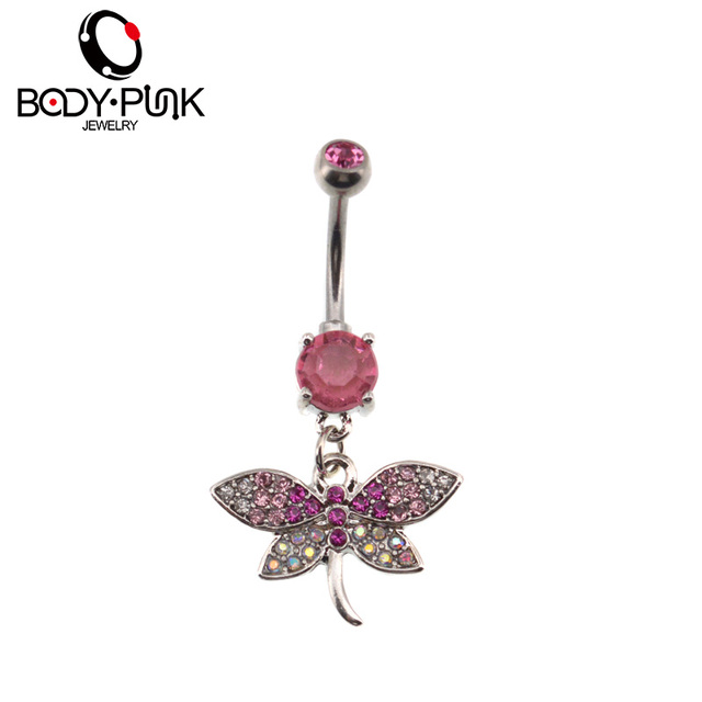 Us 4 1 49 Off Body Punk Pink Cz Dragonfly Dangle Belly Button Ring Stainless Steel Trendy Fake Navel Piercing Nombril Body Jewelry Girl S Gift In