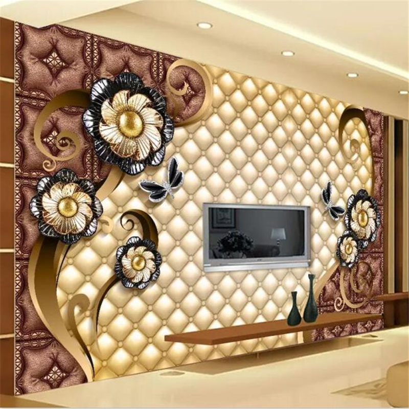 Beibehang Custom Wallpaper Large Luxury Black Dahlia Soft Bag Jewelry Living Room Bedroom Sofa TV Background Wall Wallpaper