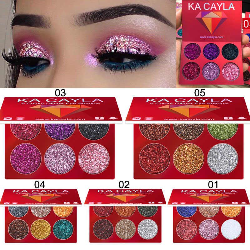 Nowy 6 kolorów brokat cień do powiek paleta cieni do powiek matowy wodoodporny makijaż zestaw kosmetyczny cień do powiek uroda kobiety makijaż TSLM1