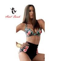 2016 Plus Size Women Bikini Sexy Print Push Up Bikinis Black Swimwear Maillot De Bain Biquini
