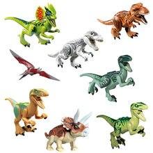 8 unids/set dinosaurio Parque Jurásico mundo los pterosaurios tiranosaurio de dibujos animados ensamblar juguetes miniaturas de bloques de construcción para niños