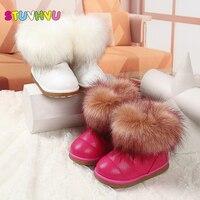 Los niños peludos nieve cargadores calientes de la felpa niños impermeable de cuero del tobillo botas de invierno las niñas niños antideslizantes zapatos de algodón de moda 26-36