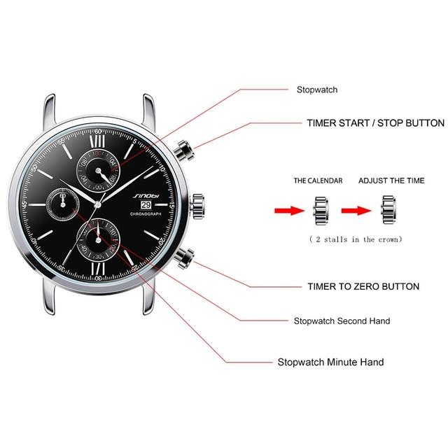 SINOBI Men's Military Sports Chronograph Brand Wrist Watches NATO Nylon Watchband Males Geneva Quartz Clock Spy James Bond 007