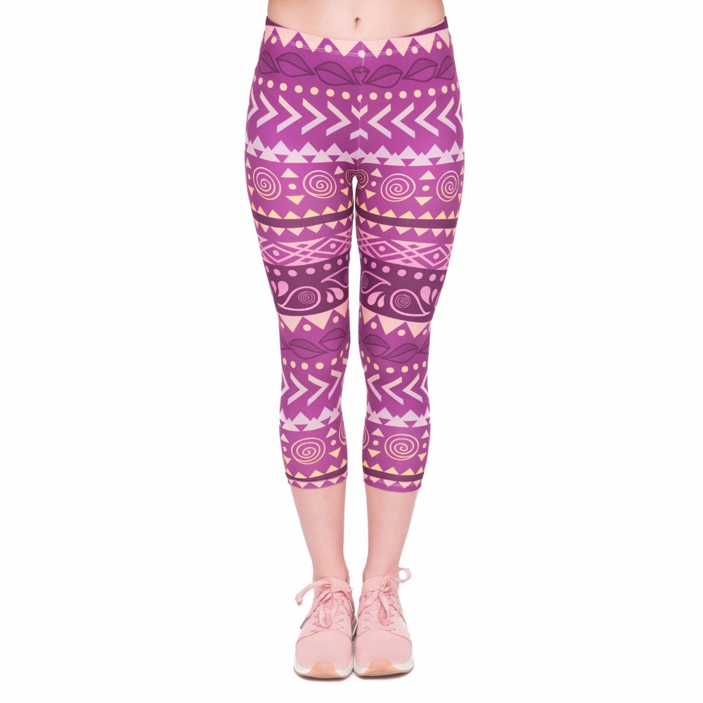 Summer Fashion Women Capri Leggings Boho Purple Printing Sexy Mid Leg 3/4 Fitness Movement Leggins Woman Capri Pants