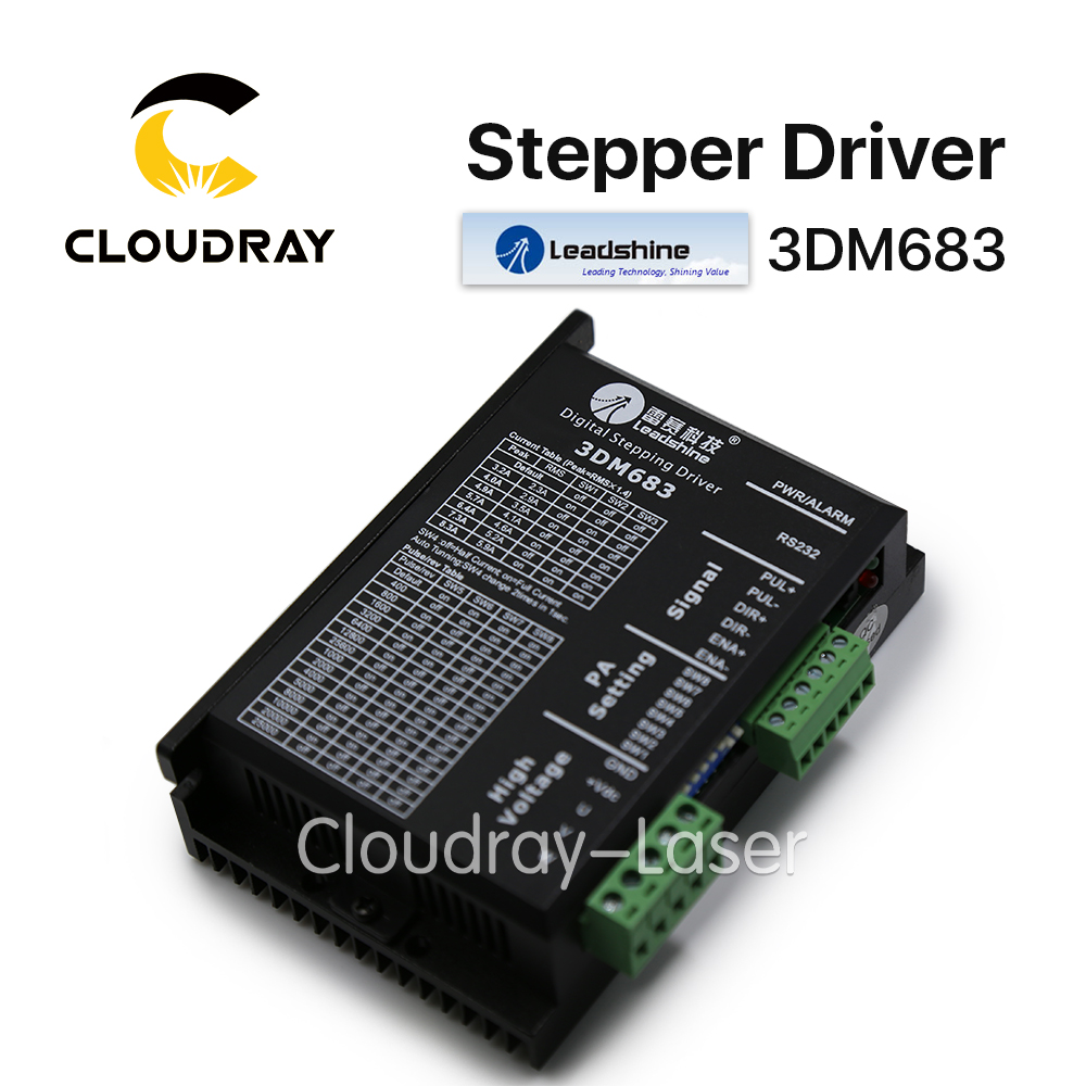 Cloudray Leadshine 3 Phase 3DM683 Stepper Motor Driver 20-60VDC 0.5-8.3A nema24 3nm 425oz in integrated closed loop stepper motor with driver 36vdc jmc ihss60 36 30