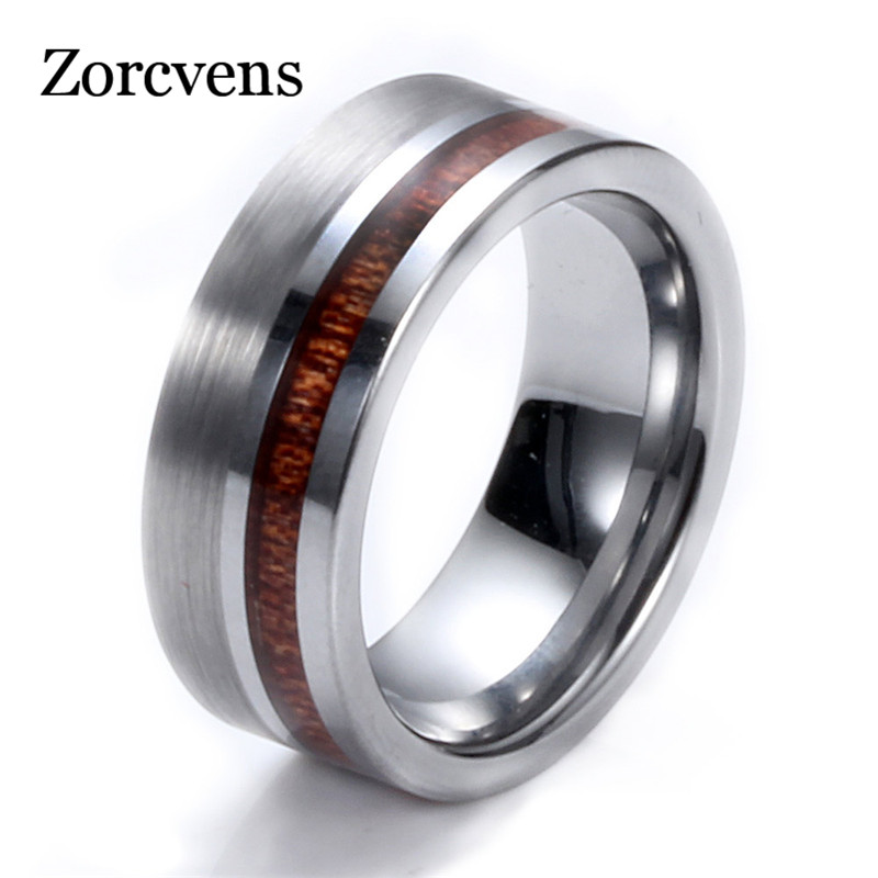 ZORCVENS Simple High Quality 8mm Wood Round Silver Color Tungsten Carbide Band Ring Heavy Steel Punk Ring For Men Party Rings(China)