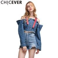 Chicever пикантные с открытыми плечами джинсовая куртка джинсовые куртки для Для женщин пальто с длинным рукавом Подтяжки для женщин укороченн...