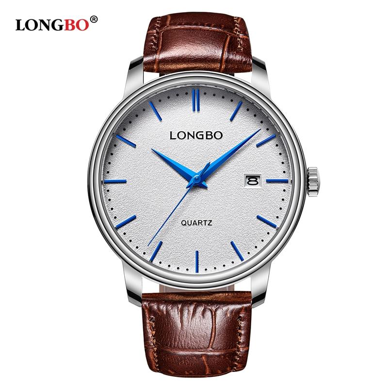 LONGBO Brand Luxury Men Women Watches Fashion Couples Genuine Leather Strap Quartz Watch Date Calendar Wristwatch Relojes Mujer