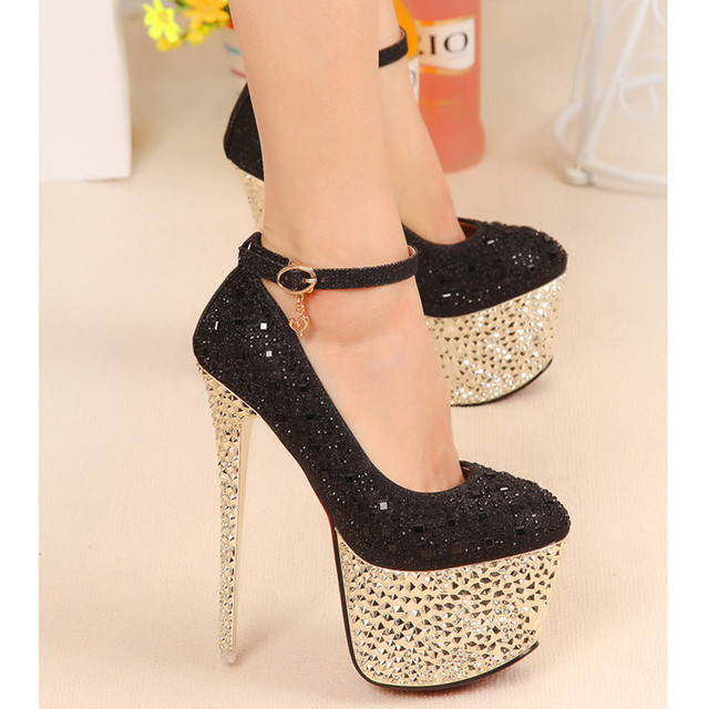 Glitter Gorgeous Closed Toe Strappy Buckles Stiletto Heels Ankle ...