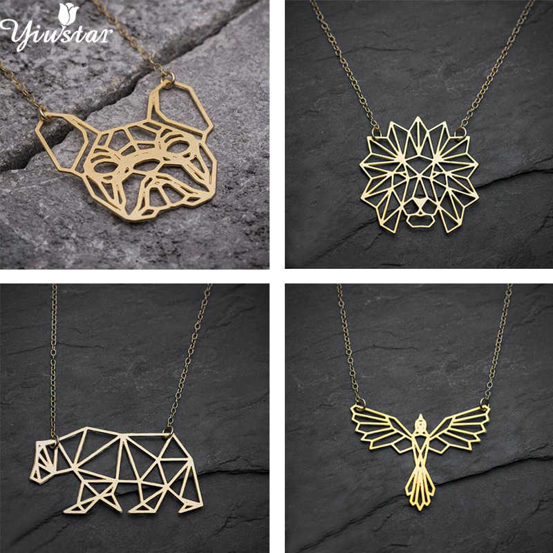 Yiustar Bear Necklace Women Origami Animal Pendant Necklaces for Girls Stainless Steel Bulldog Necklace Men Jewelry Lion Bijoux