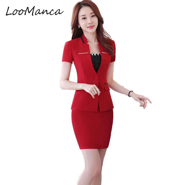 a3f7f25ed Plus Size S 4XL Blazer With Skirt Set Uniform Design Red Black Formal  Business Suits For Women Office Work Woman Skirt Suits -in Skirt Suits from  ...
