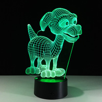 Lovely Puppy Desk Night Lights Baby Room Cartoon 3D Nightlight Kids Bed LED Lamp Sleeping Night
