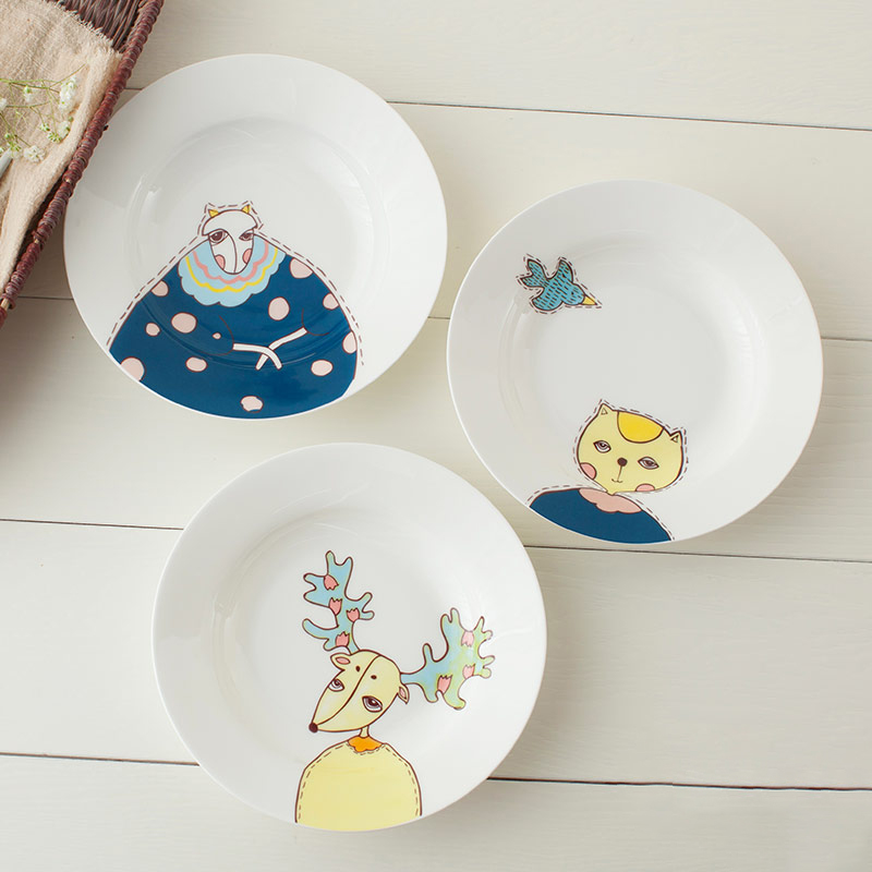 1PC Original Animal Ceramic Dinner Plate Household Soup Plates Porcelain Deep Dishes Pasta Noodels Tableware Supply 8 INCH-in Dishes u0026 Plates from Home ...  sc 1 st  AliExpress.com & 1PC Original Animal Ceramic Dinner Plate Household Soup Plates ...