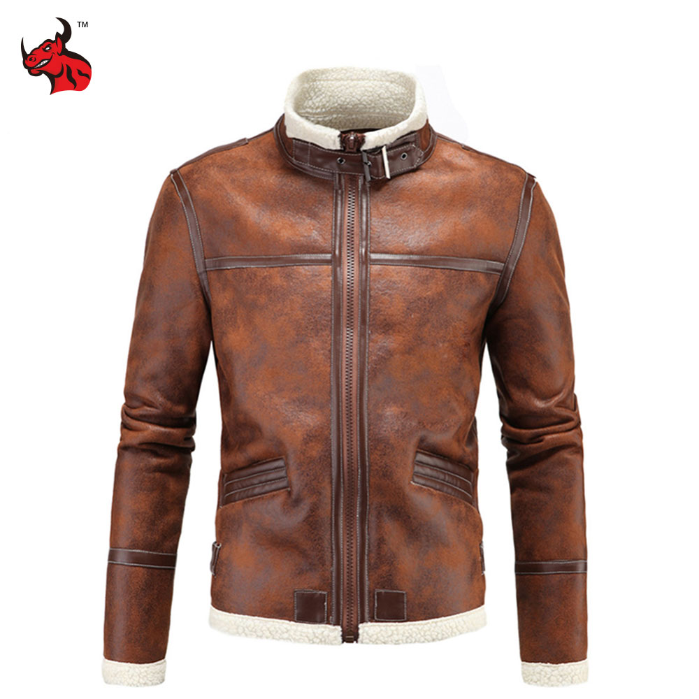 Motorcycle Jackets Men PU Leather Jacket Vintage Retro Zipper Biker Punk Classical Windproof Faux Leather Moto Jacket men faux shearling plaid jacket