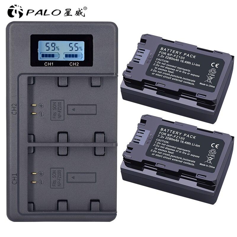 2 Unid 2280 mAh NP-FZ100 NPFZ100 NP FZ100 batería + LCD cargador Dual USB para Sony NP-FZ100, BC-QZ1, sony a9, a7R III a7 III, ILCE-9