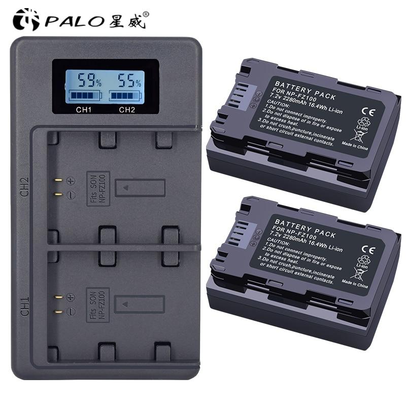 цена на 2Pc 2280mAh NP-FZ100 NPFZ100 NP FZ100 Battery + LCD Dual USB Charger for Sony NP-FZ100, BC-QZ1, Sony a9, a7R III, a7 III, ILCE-9