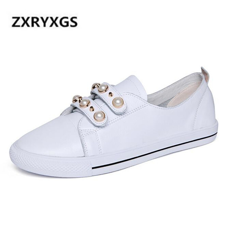 2019 Spring New Fashion Decoration Cowhide Leather Shoes Woman Non slip Comfort White Shoes Women Flats Breathable Casual Shoes