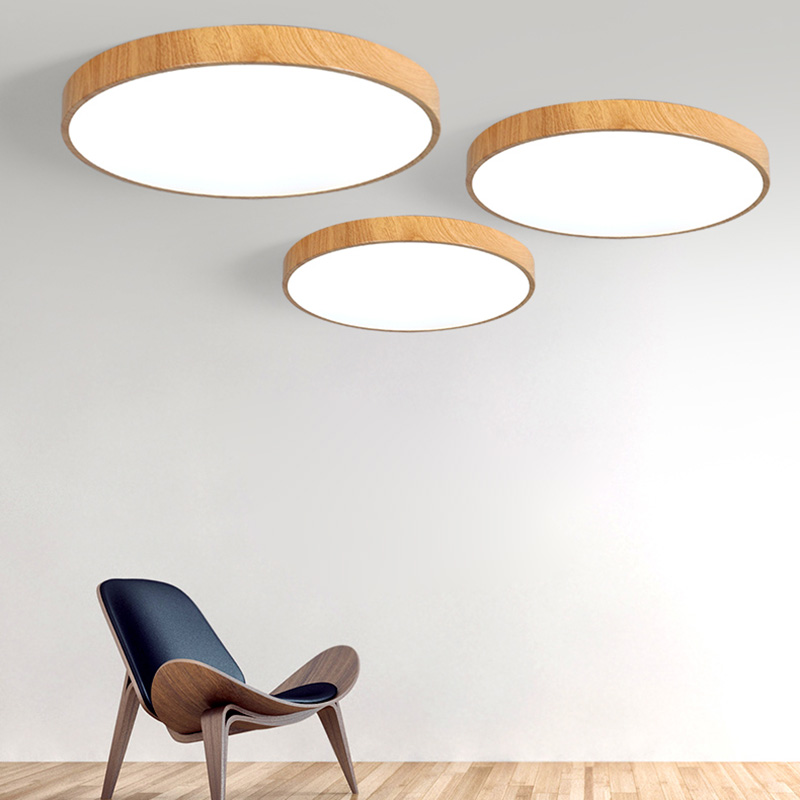 Ultra-thin wood grain LED Ceiling Light Modern Lamp Living Room Lighting Fixture Bedroom Kitchen Surface Mount Flush Panel lamp