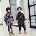 children's clothing winter outerwear 2016 baby boys  spring and autumn thickening wadded jacket medium-long Camouflage overcoat