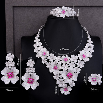 GODKI Luxury Super Big Blossom Flower 4PCS African Jewelry Sets For Women Wedding Zircon CZ Nigeria Dubai Gold jewelry SetS 2019 5