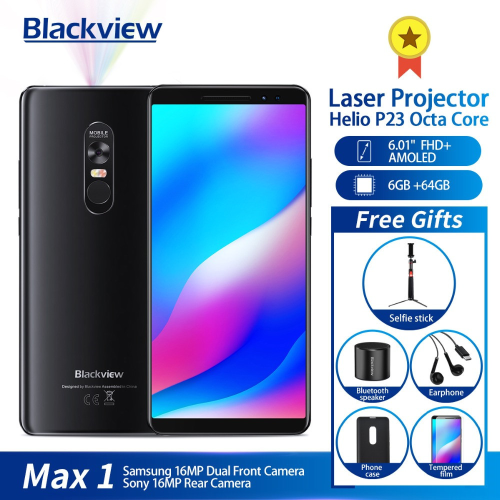 Blackview Max 1 Mobiel Amoled 4680 Mah Android 8.1 Mini Laser Projector Draagbare Home Theater 6 Gb + 64 Gb Nfc 4g Smartphone