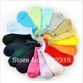 free shipping Comfortable candy solid color cotton woman sock slippers short socks candy  colour1 lot=24pcs=12pairs