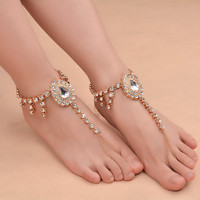 KOMi Ankle Bracelet Wedding Barefoot Sandals Beach Foot Jewelry Sexy Pie Leg Chain Female Boho Crystal