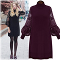 [Soonyour] 2016 outono e inverno nova plus size mulheres rendas costura longo-sleeved base high-necked dress ha04211