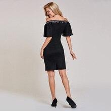 فستان قصير مثير بدون أكتاف مزين بالخرز