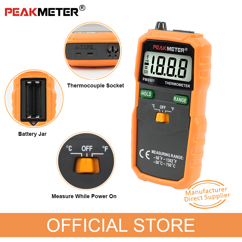 Hivatalos PEAKMETER PM6501 LCD kijelzős digitális hőmérő, K - Mérőműszerek - Fénykép 5