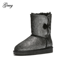 GRWG High Quality Women Snow Boots Winter Warm Wool Boots 100% Genuine Cowhide Leather Natural Fur Women Boots Free shipping cowhide wool and fur in one boots snow boots