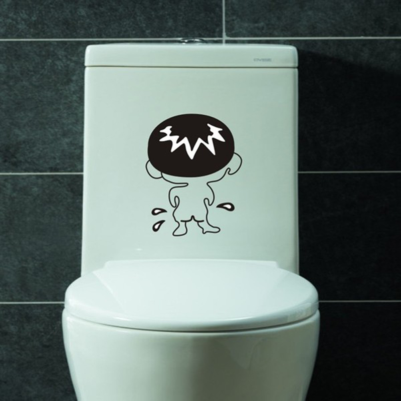 2pc Funny Bathroom Stickers Toilet Sticker Cartoon Wall Sticker Wall Decal  3d Vinyl Home Decor On The Toilet Waterproof Posters  In Wall Stickers From  Home ...